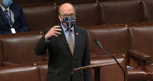 In this image from video, Rep. Jim McGovern, D-Mass., speaks on the floor of the House of Representatives at the U.S. Capitol in Washington, Thursday, April 23, 2020. (House Television via AP)