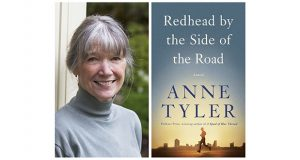 "This combination photo shows a portrait of author Anne Tyler, left, and the cover of her latest book, ""Readhead by the Side of the Road."" (Diana Walker, left, and Knopf via AP)"