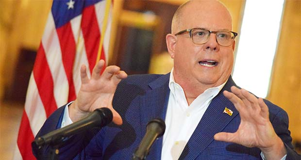 Gov. Larry Hogan speaks Wednesday, April 29, 2020, at a press conference in Annapolis. (The Daily Record / Bryan P. Sears)
