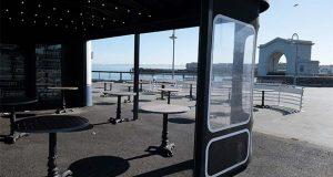 This April 24, 2020 file photo shows the empty outdoor seating area at the closed Franciscan Crab Restaurant at Fisherman's Wharf in San Francisco. Restaurant owners and executives across the country fear they'll have to repay thousands of dollars in potentially forgivable loans from the Paycheck Protection Program because rules written by the Small Business Administration are out of sync with the reality these businesses face _ many are still shut down by state and local government orders, and those that have reopened have drastically reduced revenue. (AP Photo/Eric Risberg, file)