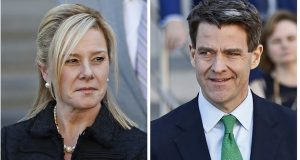 "FILE - This combination of March 29, 2017 file photos shows Bridget Kelly, left, and Bill Baroni leaving federal court after sentencing in Newark, N.J. The Supreme Court has thrown out the convictions of the two political insiders involved in New Jersey's ""Bridgegate"" scandal. The court says in a unanimous decision that the government had overreached in prosecuting Kelly and Baroni for their roles in a political payback scheme that created a massive traffic jam to punish a New Jersey mayor who refused to endorse the reelection of then-Gov. Chris Christie, a Republican. (AP Photo/Julio Cortez, File)"
