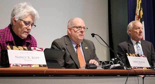 Maryland Board of Public Works, shown in a March 2020 photo, is scheduled to consider state budget cuts Wednesday, July 1, 2020 in response to the impact of COVID-19 on the economy. (AP Photo/Brian Witte, File)