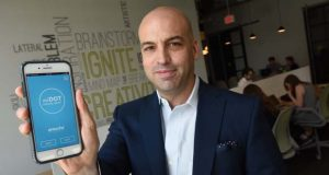 7-18-17 BALTIMORE, MD- Sebastian Seiguer, CEO of Emocha,showing off their tele-heath phone app that implements video technology so doctors can verify that their patients are taking their medications.  (The Daily Record/Maximilian Franz)