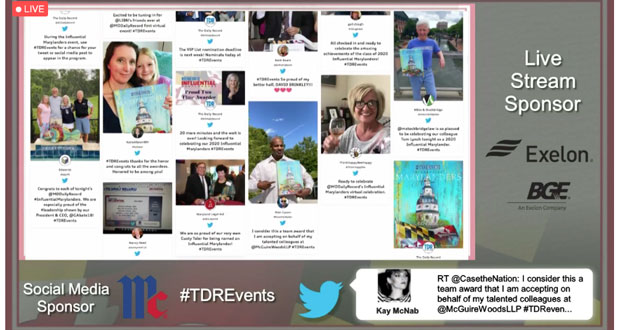Social media posts and comments are seen as they were included in the Influential Marylanders virtual event on June 1. (Screenshot)