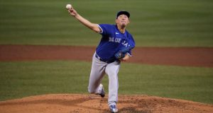 Toronto Blue Jays pitcher Shun Yamaguchi delivers during the fourth inning of an exhibition baseball game against the Boston Red Sox, Wednesday, July 22, 2020, at Fenway Park in Boston. (AP Photo/Charles Krupa)
