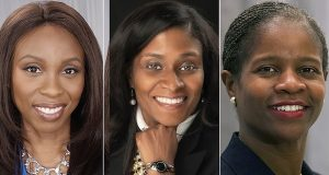 April Ademiluyi, left, and Gladys Weatherspoon, center, bested sitting judges in the Democratic primary for Circuit Court judge in Prince George's County, as did Marylin Pierre, right, in Montgomery County. (Courtesy of the Ademiluyi campaign, Will R. Jones, Diane Fink/Emerge Maryland)