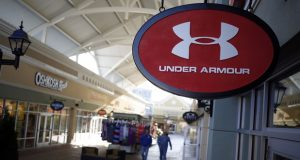 An Under Armour sign outside of a store at The Outlet Shoppes of the Bluegrass in Simpsonville, Kentucky. (Bloomberg/Luke Sharrett)