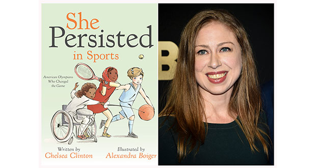 "This combination photo shows a cover image released by Penguin Young Readers of ""She Persisted in Sports"" by Chelsea Clinton, left, and Chelsea Clinton at the Lincoln Center for the Performing Arts American Songbook Gala on May 29, 2018, in New York. (Penguin Young Readers via AP, AP Photo)"