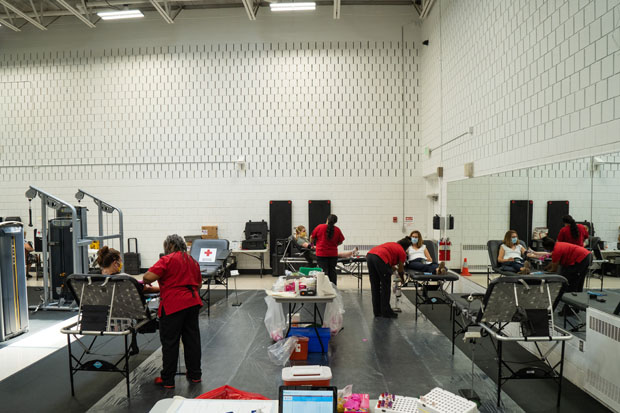 GBMC followed the highest standard of safety and infection control for its blood drive in its Fitness and Wellness Center. To ensure the health of employees and volunteers, all donors and staff were required to wear masks, were subject to temperature checks and underwent routine screening questions. (Photo courtesy of GBMC)