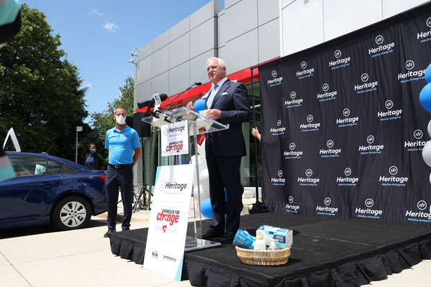 MileOne Autogroup CEO Steven Fader helped present vehicles to 19 individuals during the 20 for 20 afternoon celebration at Heritage Toyota Owings Mills. (Photo courtesy of Vehicles For Change)