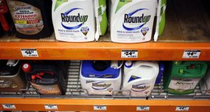 Roundup pesticide is displayed for sale at a Home Depot store in Louisville, Ky. in February 2019. MUST CREDIT: Bloomberg photo by Luke Sharrett