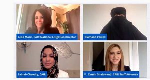 This photo provided by Council on American-Islamic Relations shows Lena Masri, national litigation director for the Council on American-Islamic Relations, Diamond Powell, 28, of Baltimore, CAIR staff attorney Zanah Ghalawanji, and Zainab Chaudry, director of CAIR's Maryland office during a online news conference on Thursday, Aug. 13, 2020.    Powell, a Muslim woman who worked for a McDonald's franchisee, sued her former employer, Susdewitt Management LLC, on Thursday, with the backing of attorneys from the Council on American-Islamic Relations.  (Council on American-Islamic Relations via AP)