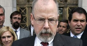 FILE - In this April 25, 2006 file photo, U.S. Attorney John Durham speaks to reporters on the steps of U.S. District Court in New Haven, Conn. Former FBI lawyer Kevin Clinesmith will plead guilty to making a false statement in the first criminal case arising from U.S. Attorney John Durham's investigation into the probe of ties between Russia and the 2016 Trump campaign. (AP Photo/Bob Child, File)