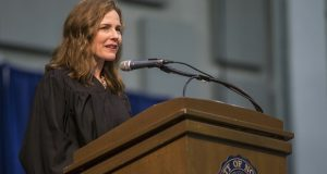 Amy Coney Barrett, United States Court of Appeals for the Seventh Circuit judge, speaks during the May 19, 2018 University of Notre Dame's Law School commencement ceremony at the university, in South Bend, Ind. Barrett, a front-runner to fill the Supreme Court seat vacated by the death of Justice Ruth Bader Ginsburg, has established herself as a reliable conservative on hot-button legal issues from abortion to gun control. (Robert Franklin/South Bend Tribune via AP, File)