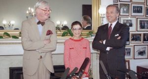 In this June 15, 1993, file photo, Judge Ruth Bader Ginsburg poses with Sen. Daniel Patrick Moynihan, D-N.Y., left, and Sen. Joseph Biden, D-Del., chairman of the Senate Judiciary Committee on Capitol Hill in Washington. The Supreme Court says Ginsburg has died of metastatic pancreatic cancer at age 87.  (AP Photo/Marcy Nighswander, File)
