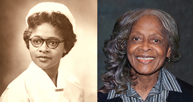 Left, a photo of Esther E. McCready as a nursing student at the University of Maryland School of Nursing; Right, a later photo of McCready. 89, who died Sunday after a long illness. (Photos courtesy of UMSON)