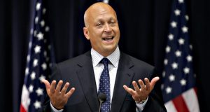 "Baseball Hall of Famer Cal Ripken Jr. comments on becoming a ""special sports envoy"" during a ceremony with Secretary of State Condoleezza Rice, not shown, Monday, Aug. 13, 2007, at the State Department in Washington. Hoping to capitalize on his wholesome American image, the State Department will send the former Baltimore Orioles hero to visit schools and clubs overseas and talk about keys to his success, including hard work and perseverance.  (AP Photo/J. Scott Applewhite)"