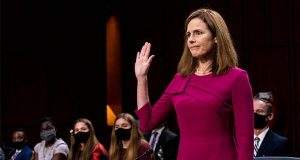 Supreme Court nominee Amy Coney Barrett is sworn in during her Senate Judiciary Committee confirmation hearing on Capitol Hill in Washington, Monday, Oct. 12, 2020. (Erin Schaff/The New York Times via AP, Pool)