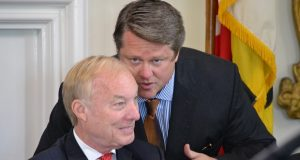 Comptroller Peter Franchot, seated, and his former longtime top aide, Len Foxwell. Foxwell was widely considered the architect of Franchot's political transformation and his take-no-prisoners style often made him a polarizing figure for both Democrats and Republicans. (The Daily Record/File Photo)