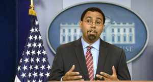 Then-Education Secretary John King Jr. speaks during the daily briefing at the White House in Washington in September 2016. King announced Monday, Oct. 5, 2020, he is forming a political nonprofit organization called Strong Future Maryland to focus on battling systemic racism. (AP File Photo/Susan Walsh)