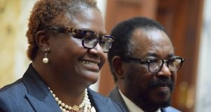 Del. Brenda Thiam, R-Washington, and her husband, Malick Thiam, at her swearing-in in Annapolis Tuesday. (The Daily Record/Bryan P. Sears)