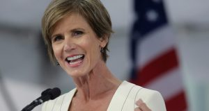 Former U.S. Deputy Attorney General Sally Yates, shown during a 2017 speech at Harvard Law School Class Day is among those under consideration to be attorney general in a Biden administration, insiders say. (AP Photo/Steven Senne, File)
