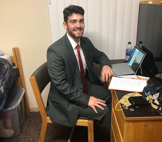 McDaniel College junior Shea Dougherty prepares to log on for his virtual interviews during the school's annual Interview Day. (Photo courtesy of McDaniel College)