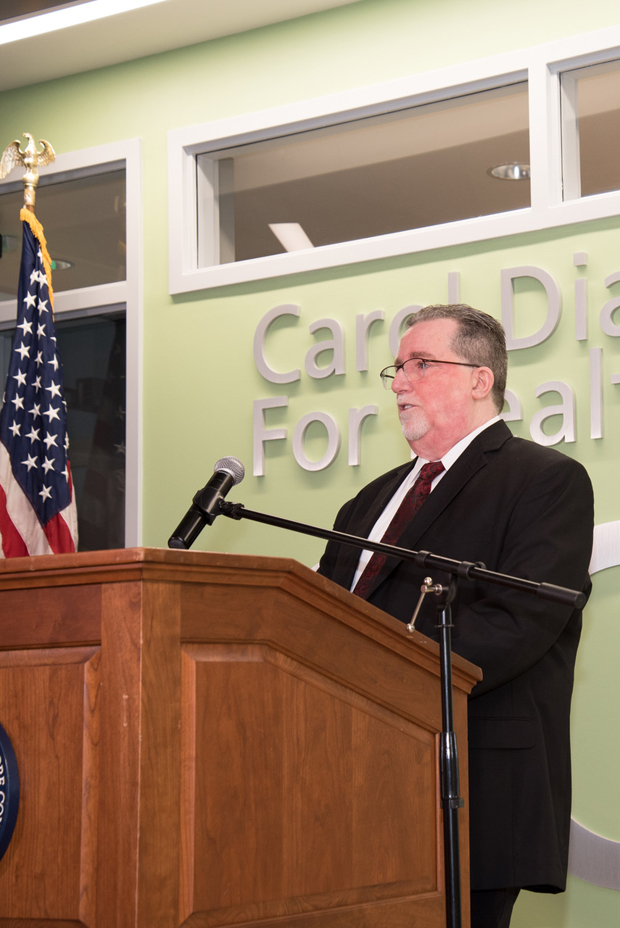 Dr. Shawn P. McNamara, dean of instruction for the CCBC School of Health Professions, delivers remarks at the dedication of the Carol Diane Eustis Center for Health Professions at CCBC Essex.