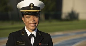 Midshipman 1st Class Sydney Barber, from Lake Forest, Illinois, has become the first Black woman selected for the U.S. Naval Academy's top student leadership position of brigade commander.  She will assume her role next semester.  (Petty Officer 2nd Class Nathan Burke/U.S. Navy via AP, File)