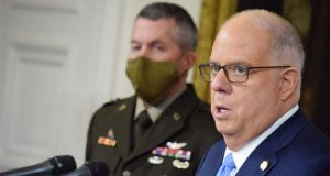 Gov. Larry Hogan, right,  and Adjutant General Timothy Gowen. (The Daily Record / Bryan P. Sears)