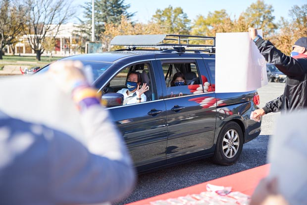 Marc Martin, principal at Commodore John Rodgers Elementary/Middle School, participated in the Heart of the Schools' Drive Thru For You. (Photo courtesy of Heart of the Schools)