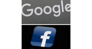 This combination of file photos shows a Google sign and the Facebook app. As a wave of antitrust actions surges against Google and Facebook, states in two lawsuits are stretching beyond the cases made by federal competition enforcers to level bold new claims.