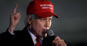 Attorney Lin Wood, member of President Donald Trump's legal team, gestures while speaking during a rally on Wednesday, Dec. 2, 2020, in Alpharetta, Ga. (AP Photo/Ben Margot)