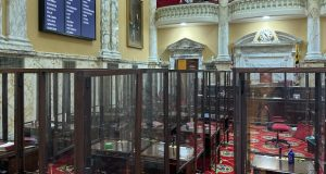 In the Maryland Senate, members will sit at desks not only separated from each other but surrounded on three sides by plexiglass partitions. (The Daily Record/Bryan P. Sears)