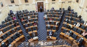 The view from above of the House of Delegates chamber, where members were observing social distancing rules on the first day of the 2021 General Assembly session. (The Daily Record/File Photo)