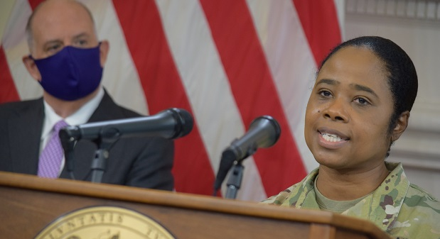 Maryland National Guard Brig. Gen. Janeen Birckhead has been assigned by Gov. Larry Hogan to lead the state's efforts to improve vaccine equity. (The Daily Record/File Photo)