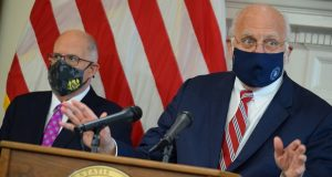 Dr. Robert Redfield talks to reporters on March 2 following the announcement from Gov. Larry Hogan that he would be advising Hogan on the pandemic. (The Daily Record/File Photo)