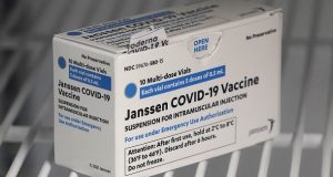 FILE - In this March 25, 2021 file photo, a box of the Johnson & Johnson COVID-19 vaccine is shown in a refrigerator at a clinic in Washington state. A batch of Johnson & Johnson's COVID-19 vaccine failed quality standards and can't be used, the drug giant said late Wednesday, March 31, 2021. The drugmaker didn't say how many doses were lost, and it wasn't clear how the problem would impact future deliveries. (AP Photo/Ted S. Warren)