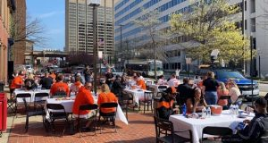 The scene outside the Pratt Street Ale House on Thursday for the Orioles' home opener. (Courtesy Pratt Street Ale House)