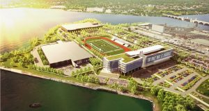 Under Armour has unveiled scaled-back plans for its global headquarters on Port Covington, a project the company expects will be completed in 2025. (Courtesy Under Armour)