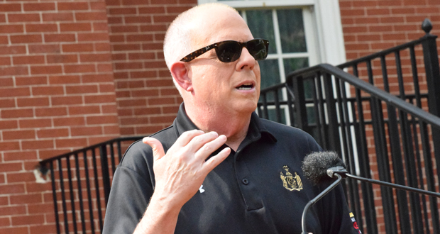 """""""With all of this amazing progress and thanks in large part to the hard work, sacrifices and the vigilance of the people of Maryland, we have finally reached the light at the end of that long tunnel,"""" says Gov. Larry Hogan. (The Daily Record/Bryan Sears)"""