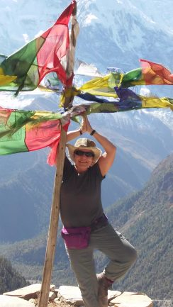 Somewhere in the Himalayas, Tracy Pawelski, stands near the top of the world. PHOTO / TRACY PAWELSKI