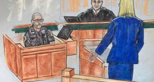 In this courtroom sketch, Anne Arundel County State's Attorney Anne Colt Leitess questions Annapolis police Officer Wesley Callow during court Wednesday, June 30, 2021, in Annapolis about his body camera footage from the 2018 shooting scene in the Capital Gazette offices. (Kevin Richardson/The Baltimore Sun via AP)