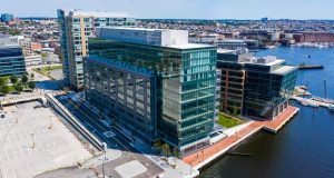 RBC Wealth Management is moving to Wills Wharf,  a 12-story, 330,000 square-foot mixed-use building. (Courtesy Armada Hoffler Properties)