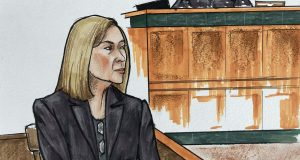 In this courtroom sketch, the defense's leading medical expert, Dr. Catherine Yeager, shares her evaluation of Jarrod Ramos during the second week of the trial, Tuesday, July 6, 2021, in Annapolis, Md. Ramos has pleaded guilty but not criminally responsible for the mass shooting at a Maryland newspaper. (Kevin Richardson/The Baltimore Sun via AP)