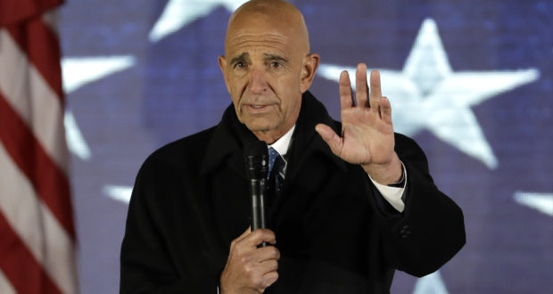 Tom Barrack speaks on Jan. 19, 2017, at a rally in Washington. Barrack, chair of former President Donald Trump's 2017 inaugural committee, was arrested Tuesday, in California on charges alleging that he and others conspired to influence Trump's foreign policy positions to benefit the United Arab Emirates. (AP Photo/David J. Phillip, File)
