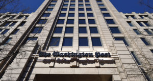 This Feb. 8, 2019 file photo shows The One Franklin Square Building, home of The Washington Post, in downtown Washington. (AP Photo/Pablo Martinez Monsivais, File )