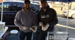 Eric Weller, left, and Wade Newman, owners of Shuckin' Shack Oyster Bar in Frederick, are expanding their restaurant. That expansion includes the construction of a new bar for oyster shucking.